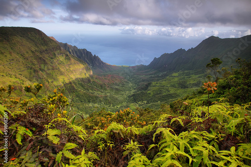 Fotobehang Canyon Majestic views of Napali coast from Kalalau lookout