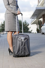 Low section of businesswoman standing with luggage on driveway