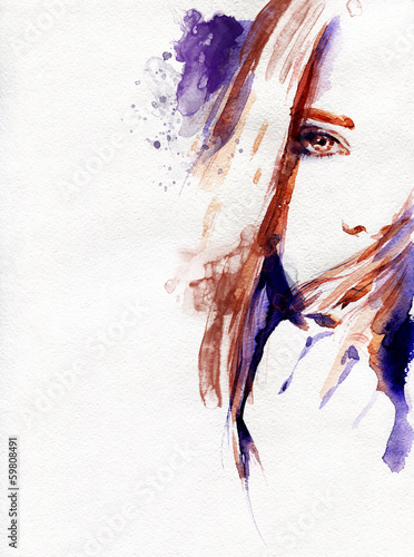 sliczna-kobieta-akwarela-ilustracja