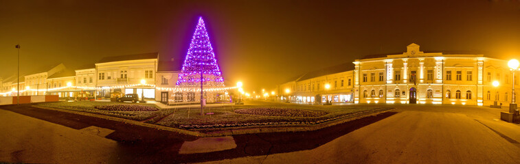 Koprivnica town center christmas panorama