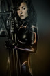 Armed, Future women concept, black latex with neon lights