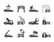 Silhouette car and automobile service icons