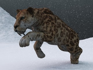 Sabre-toothed tiger in ice age blizzard