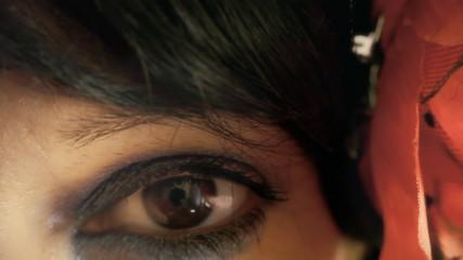 Eye macro woman look in camera sweet