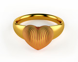 Gold Heart and wedding rings isolated on white background