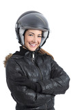 Beautiful urban biker woman with a helmet