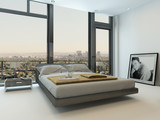 Modern bedroom interior with huge windows
