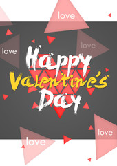 Happy Valentine's Day Simple Card Potrait - Dark