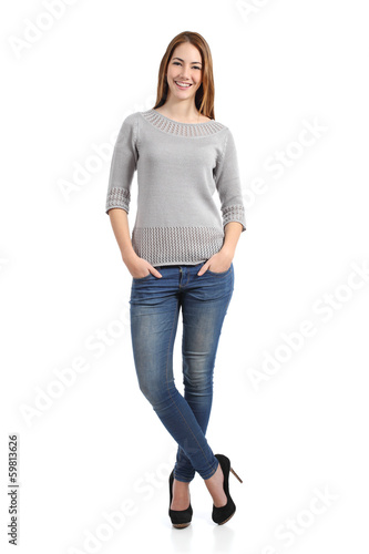 Beautiful standing woman model posing