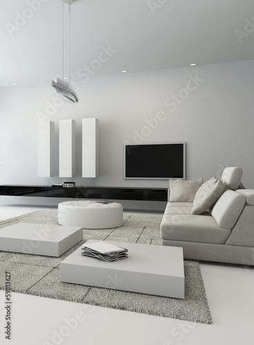 Black and white living room interior
