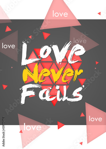 Love Never Fails - Portrait Dark Background