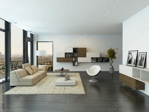 Contemporary living room loft interior Poster