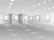 Realistic gallery hall with blank white canvases - 59813855