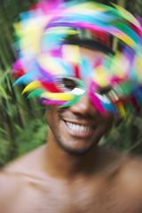 Rio Carnival Samba Dancing Brazilian Man Smiling Colorful Mask