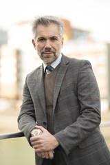 Manager outdoor grau brauner Anzug