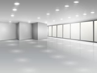 Light conference room or office open space interior