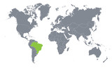 world map with the indication of Brazil