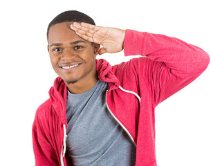 Young man giving a hand salute sign to you