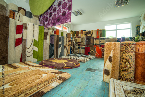 Carpets And Rugs Rolled Up & Displayed - 59815062