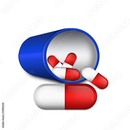 Medical capsule illustration , isolated on white background