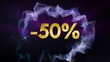 -50% Discount Concept, Gold Numbers in Particles