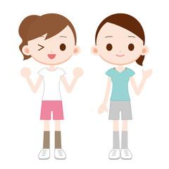 トレーニングウェアの女性 二人