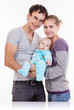 Young family with baby boy over white