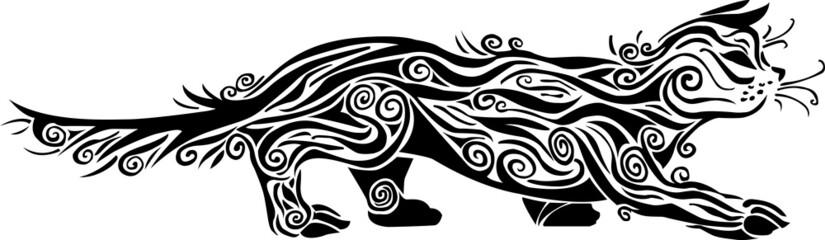 Decorative black cat ornamen on white background no.2
