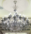 Luxury crystals of a modern chandelier.