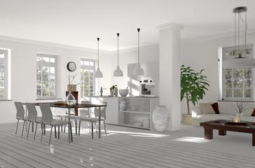 Küche mit offenem Essbereich