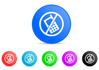 no phone icon vector set