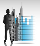 Illustration of business man with office skyline