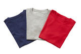 Three folded t-shirts isolated