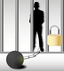 Illustration of business man in prison isolated