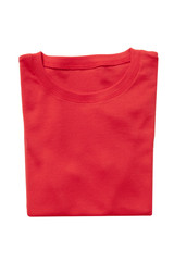 Folded red t-shirt isolated
