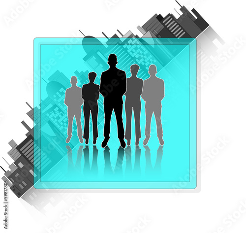 Illustration of business group with city skyline isolated