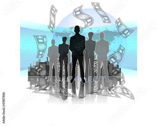 Illustration of business group with money, map and skyline