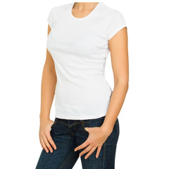 Young woman with blank white t-shirt isolated on white