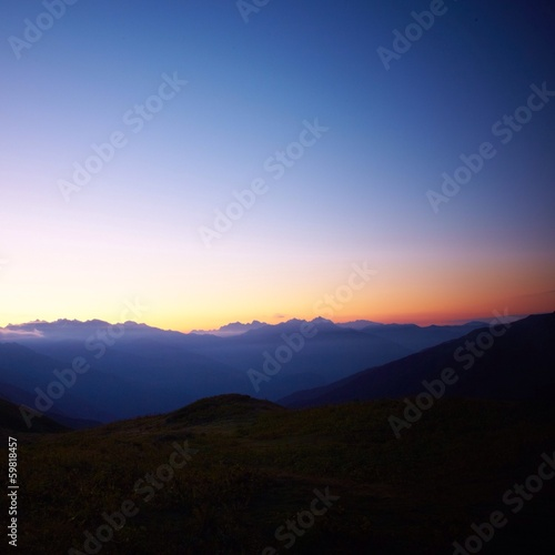 Beautiful sunrise in mountains