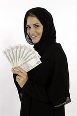 Muslim Arab Girl With Money In Dubai