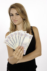 Blonde Tourist Wins Money In Dirhams In Dubai