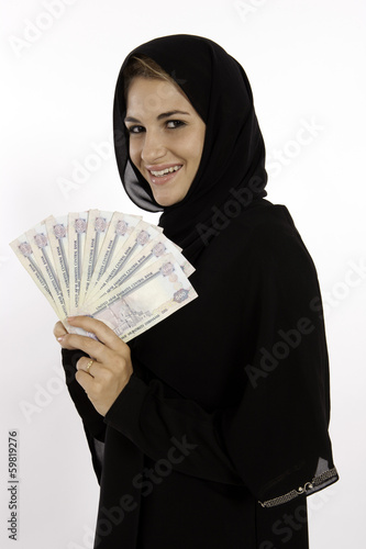 Muslim Arab Girl With Money In Dubai