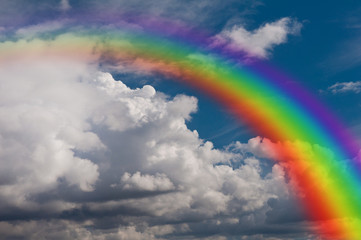 sky, clouds and rainbow.