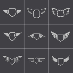 Vector black shield icons set