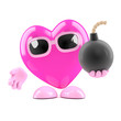 Pink heart has a bomb