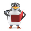 Academic penguin reads a book