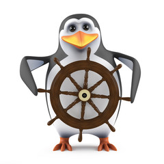 Cute penguin is sailing his boat