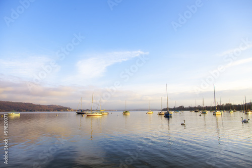 Lake Maggiore panorama with boats color image