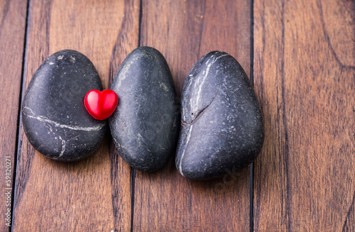Red Valentine heart object with zen stones