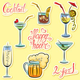 Set of alkohol drinks images and hand written text: Happy Hour,